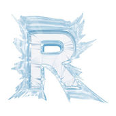 Ice crystal font. Letter R.Upper case.With clipping path — Stock Photo