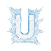 Ice crystal font. Letter U.Upper case.With clipping path — Stock Photo