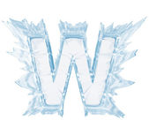 Ice crystal font. Letter W.Upper case.With clipping path — Stock Photo