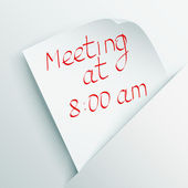 "White stick note with message ""Meeting at 8.00"" — Vector de stock"