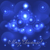 Merry Christmas card with blue glowing flares — Stock Vector
