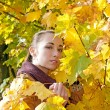 Stock Photo: Womlooks through yellow leaves