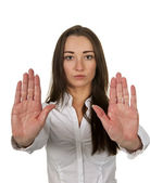 Businesswoman shows stop — Stock Photo