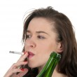 Woman smoking and drinking — Stock Photo #25258725