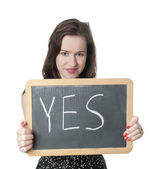 Woman showing yes — Stock Photo