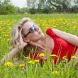 Beautiful woman with sunglasses in nature — Stock Photo #31581069
