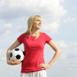 Young woman with soccer ball — Stock Photo #5406068