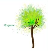 Árbol de otoño sobre fondo blanco — Vector de stock