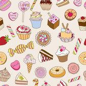 お菓子とのシームレスなパターン. — ストックベクタ