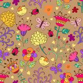 花とのシームレスなテクスチャ. — ストックベクタ