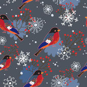 Winter seamless pattern with bullfinches — Stock Vector