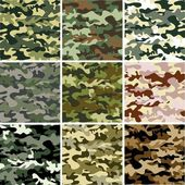 9 Set of camouflage pattern — Stock Vector