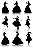 Set of various beautiful model girls in dress — Stock Vector