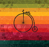 Retro bicycle on colorful geometric background — Stock Vector