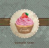 Retro background with cupcake — Stockvector
