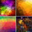 Set of four colorful abstract geometric background — Imagens vectoriais em stock