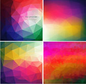 Set of four colorful abstract geometric background — Stock Vector