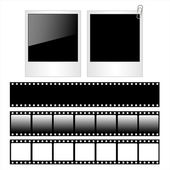 Set of polaroid photo frames and film strips isolated on white background. — Stock Vector