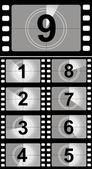 Film countdown numbers. Vector Illustration — Stock Vector