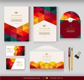 Corporate Identity. Vector templates. Geometric pattern. Envelope, cards, business cards, tags, disc with packaging, pencils, clamp. With place for your text — Stock Vector
