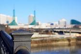 Old Steel Railing on Portland Bridge — Stock Photo