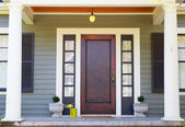 Brown stained Front Door — Stock Photo
