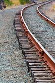 Single set of curved of Train Tracks — Stock Photo