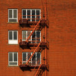 Fire Escape Red Brick — Stock Photo