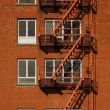 Fire Escape Red Brick Vertical — Stock Photo