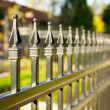 Pointed metal fence perspective — Stock Photo