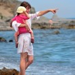 Young mother and daughter walking on beach — Stock Photo #5300879