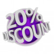 Purple discount button — Stock Photo