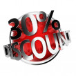 Red discount button - Foto de Stock