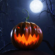 Halloween scene with a scary pumpkin — Stock Photo