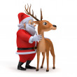 Illustration of a little santa and his reindeer — Stock Photo