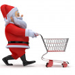 Little 3d santa with his shopping cart — Stock Photo