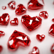 Illustration of some heart-shaped rubies - Foto Stock