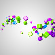 Illustration of some floating colorful cubes - Stock Photo