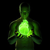 Male holding a heart — Stock Photo