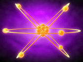 Illustration of an atom in orange — Stock Photo