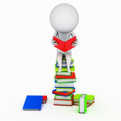 Illustration av en liten kille som läser en bok — Stockfoto