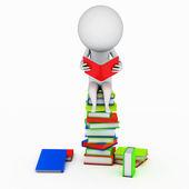Ilustração de um cara pequeno que está lendo um livro — Foto Stock