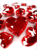 Illustration of some heart-shaped rubies — Stock Photo