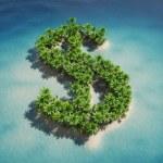 Dollar-shaped island — Stock Photo