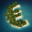 Royalty-Free Stock Photo: Euro sign shaped tropical island