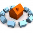Little 3d houses - Stock Photo