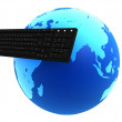Keyboard and globe — Stock Photo