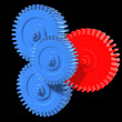 3d rendered illustration of some blue and a red gear  — Stock Photo