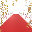 3d rendered illustration of a red carpet and golden ribbons — Stock Photo
