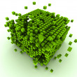 Abstract green cubes — Stock Photo